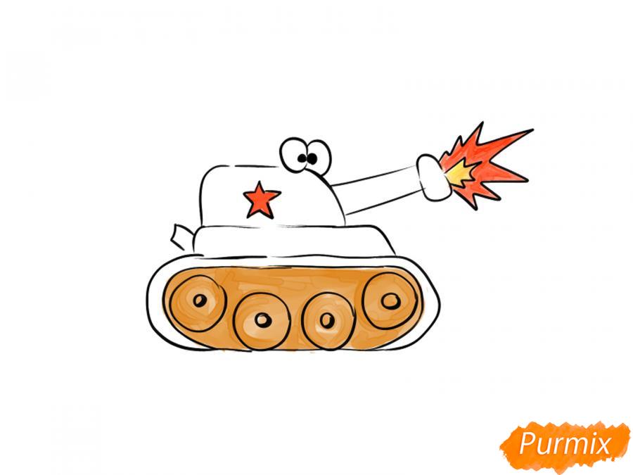 Рисуем простой танк ребенку на 9 мая - шаг 7