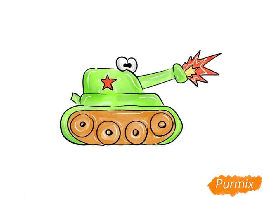 Рисуем простой танк ребенку на 9 мая - шаг 8