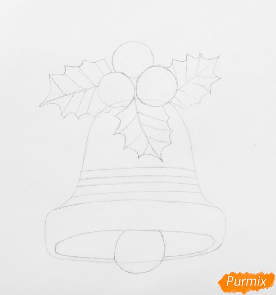 Рисуем рождественский колокольчик с клюквой и листочками от клюквы - шаг 3