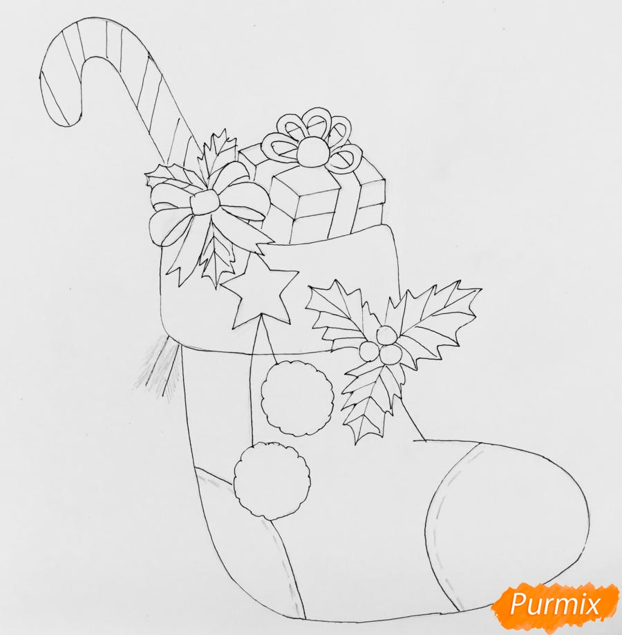 Рисуем рождественский носок с балабонами с подарком и леденцом внутри - шаг 5