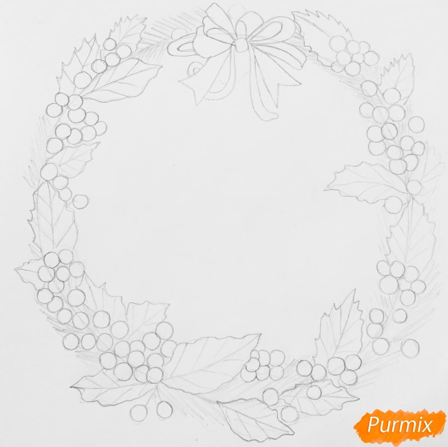 Рисуем рождественский венок с клюквой и двумя птичками - шаг 4