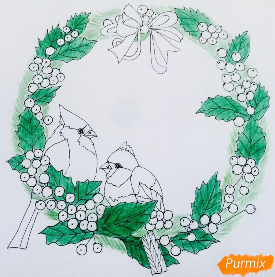 Рисуем рождественский венок с клюквой и двумя птичками - шаг 7