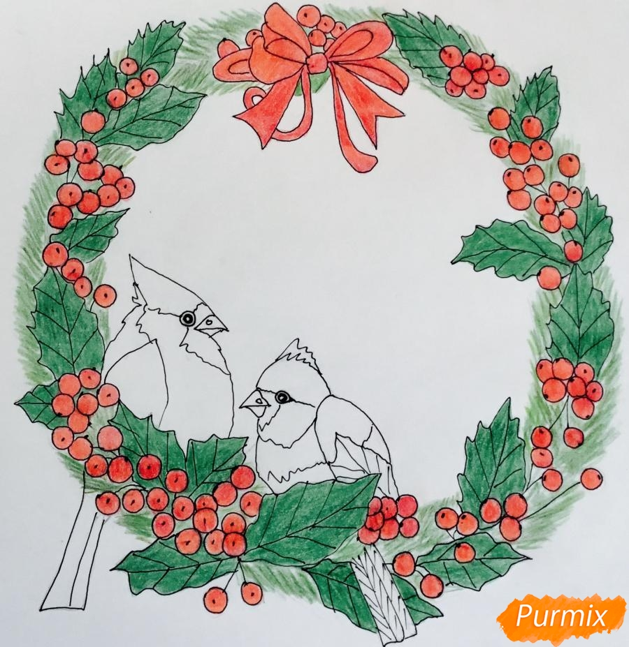 Рисуем рождественский венок с клюквой и двумя птичками - шаг 8