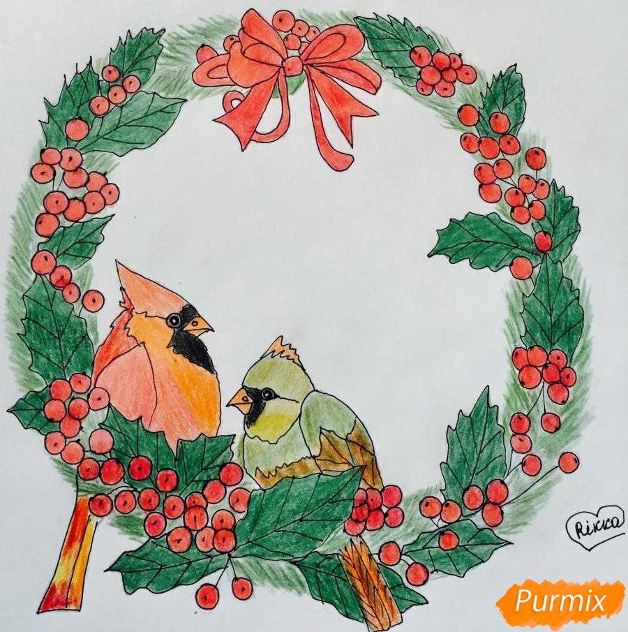 Рисуем рождественский венок с клюквой и двумя птичками - шаг 9