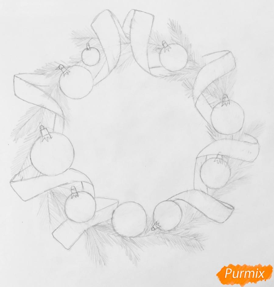 Рисуем рождественский венок с ленточками и новогодними игрушками - шаг 4