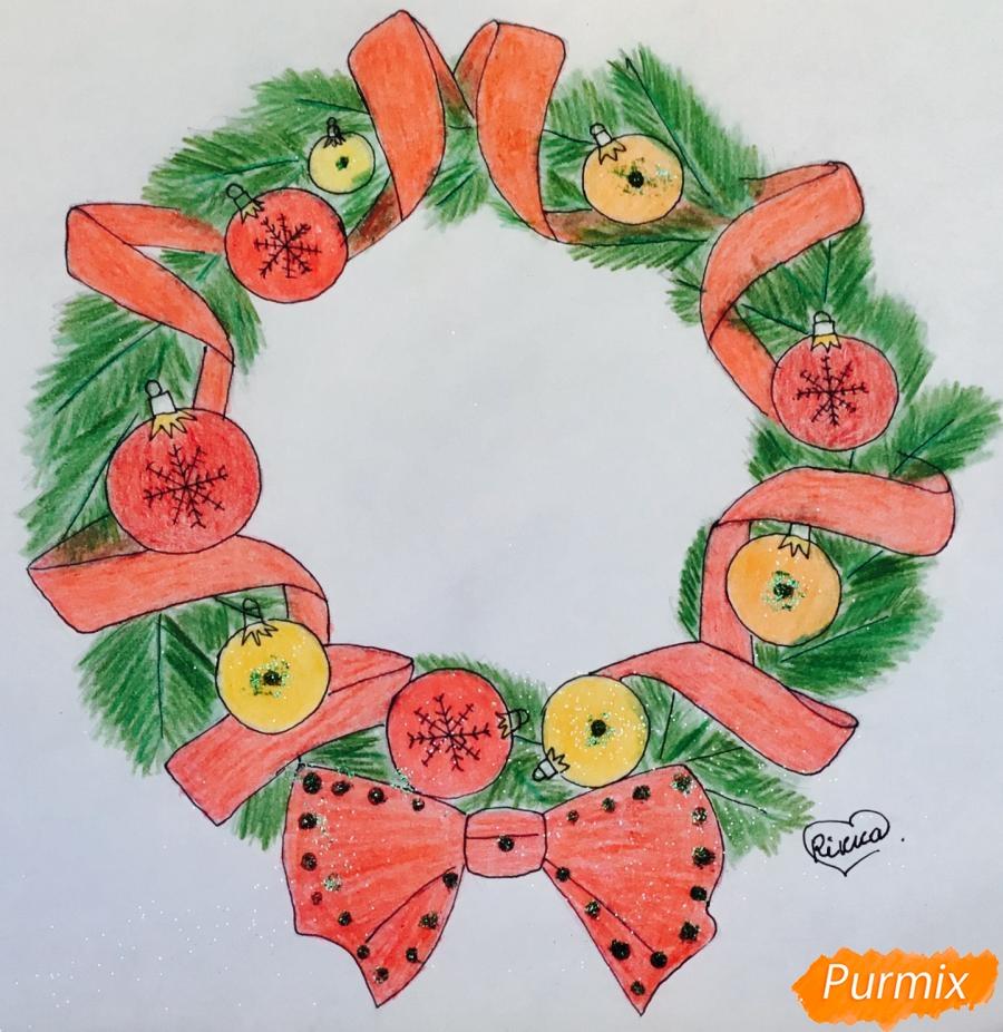 Рисуем рождественский венок с ленточками и новогодними игрушками - шаг 9