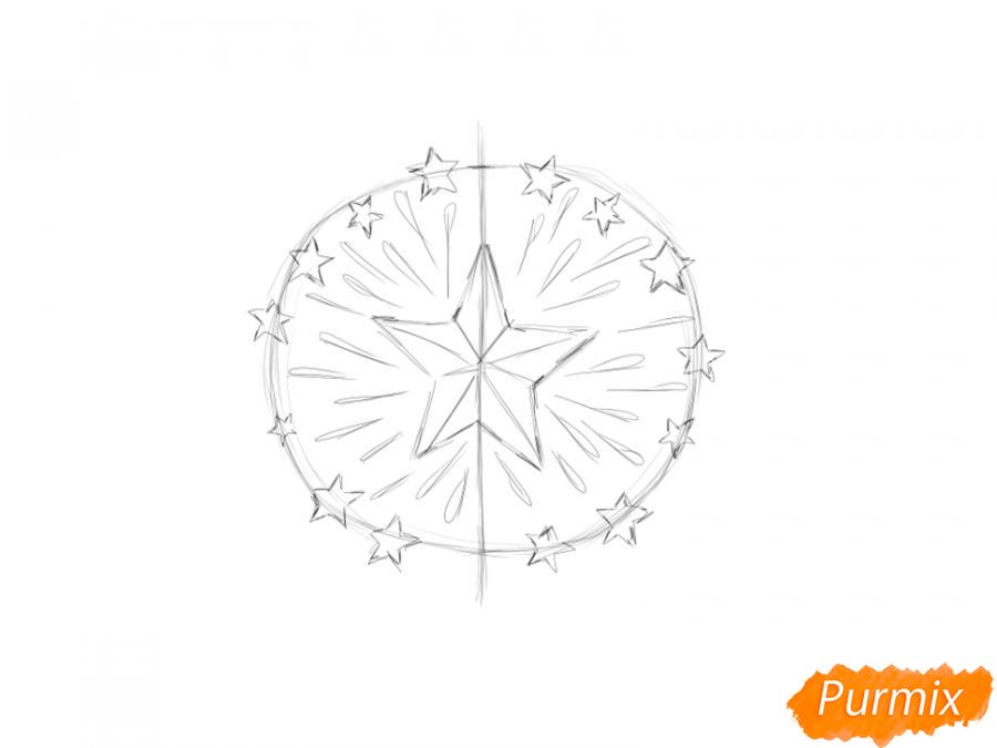 Рисуем салют ко Дню Победы карандашами - шаг 3