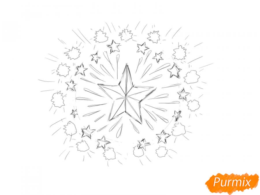 Рисуем салют ко Дню Победы карандашами - шаг 4