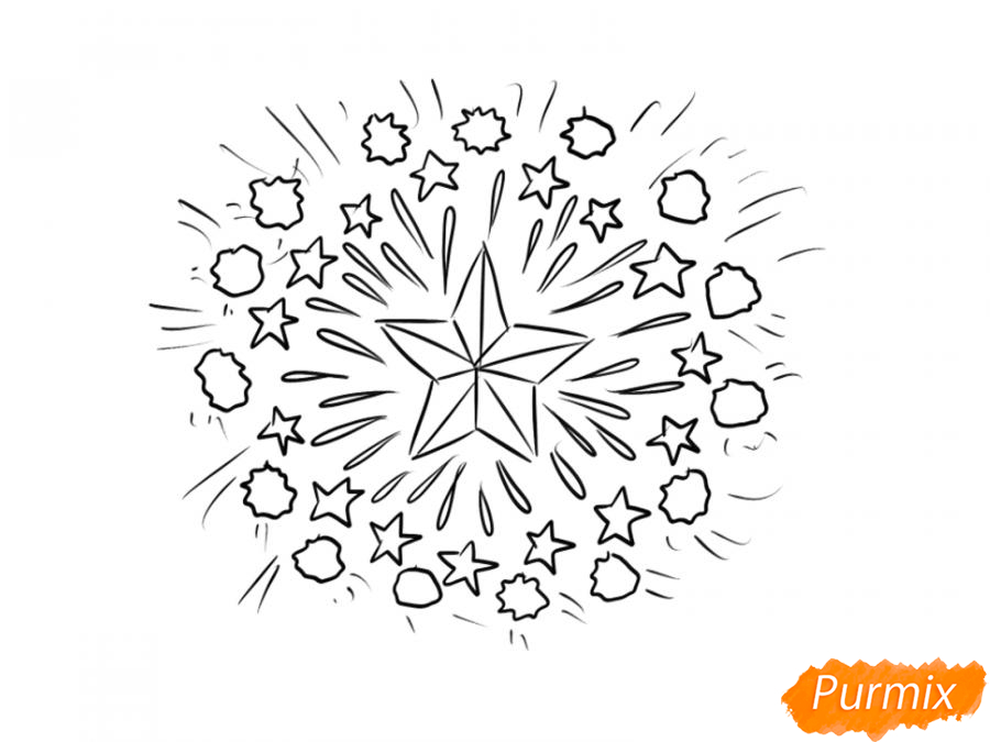 Рисуем салют ко Дню Победы карандашами - шаг 5