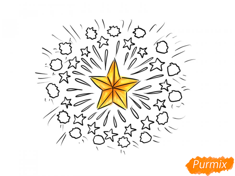 Рисуем салют ко Дню Победы карандашами - шаг 6