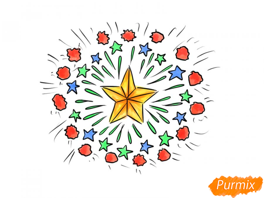 Рисуем салют ко Дню Победы карандашами - шаг 8
