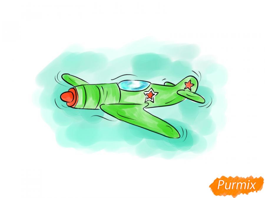 Рисуем самолет на 9 мая карандашами - шаг 10