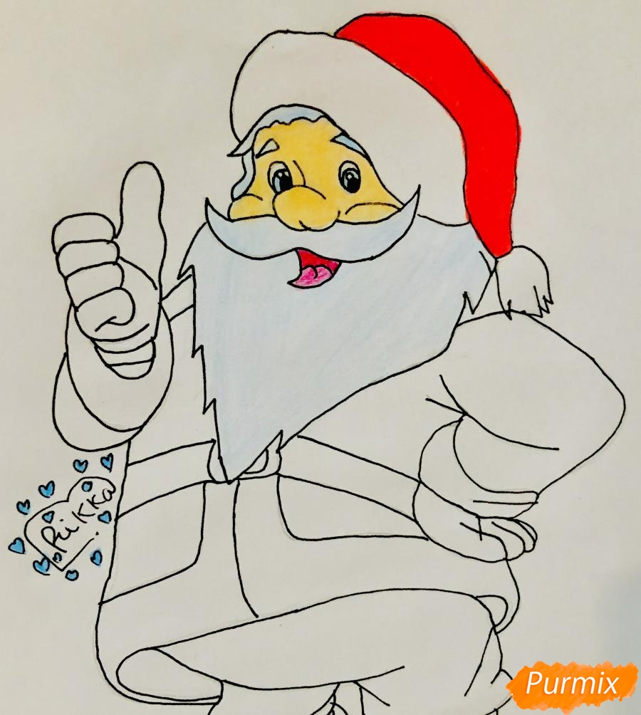 Рисуем Санта Клауса который показывает класс - шаг 7