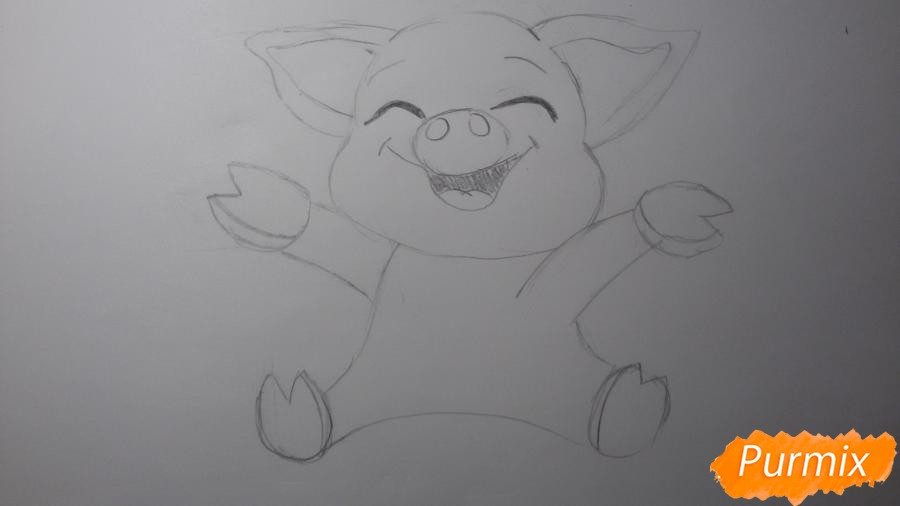 Рисуем счастливую свинью: символ 2019 года - шаг 3