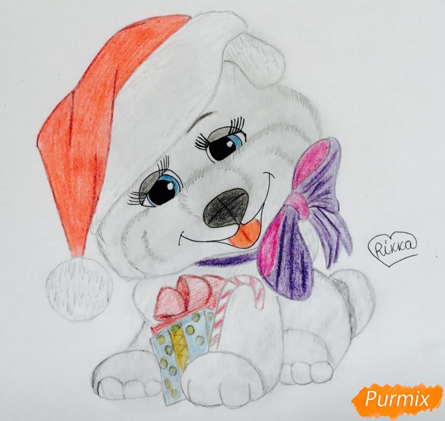 Рисуем серенького милого новогоднего щеночка в шапочке и с подарком - шаг 7