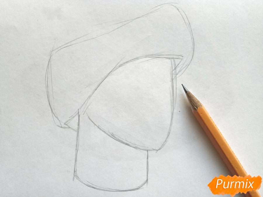 Рисуем шапку Деда Мороза цветными карандашами - шаг 2