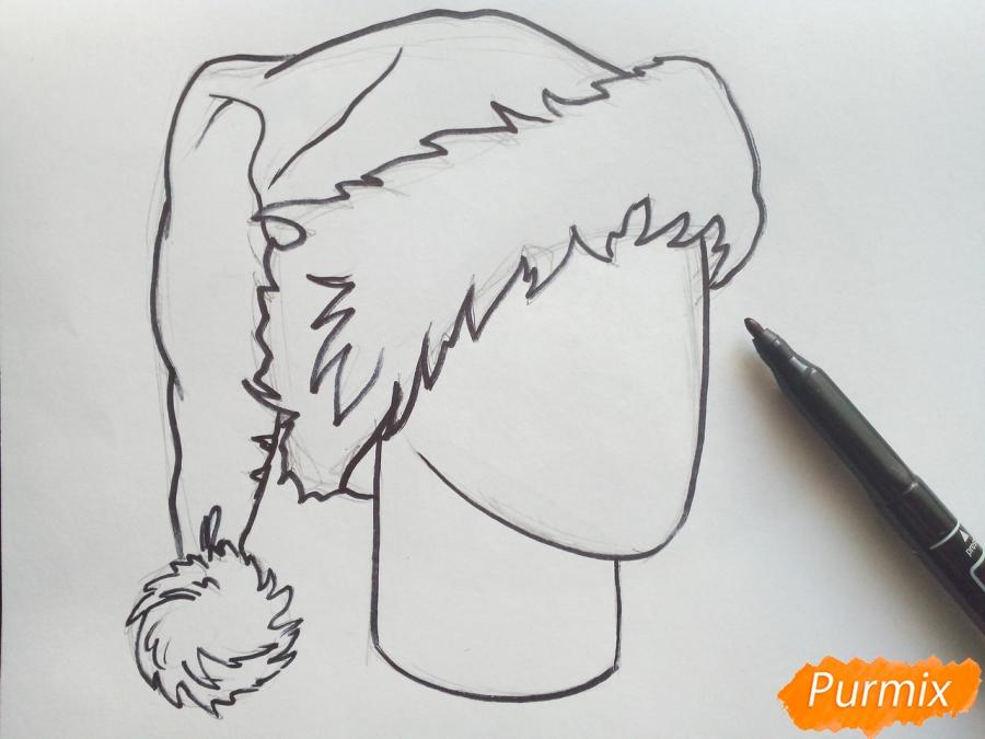 Рисуем шапку Деда Мороза цветными карандашами - шаг 5