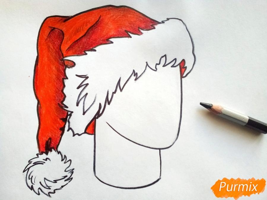 Рисуем шапку Деда Мороза цветными карандашами - шаг 7