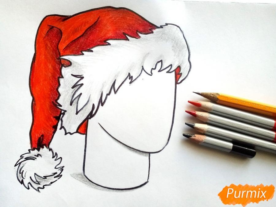 Рисуем шапку Деда Мороза цветными карандашами - шаг 9