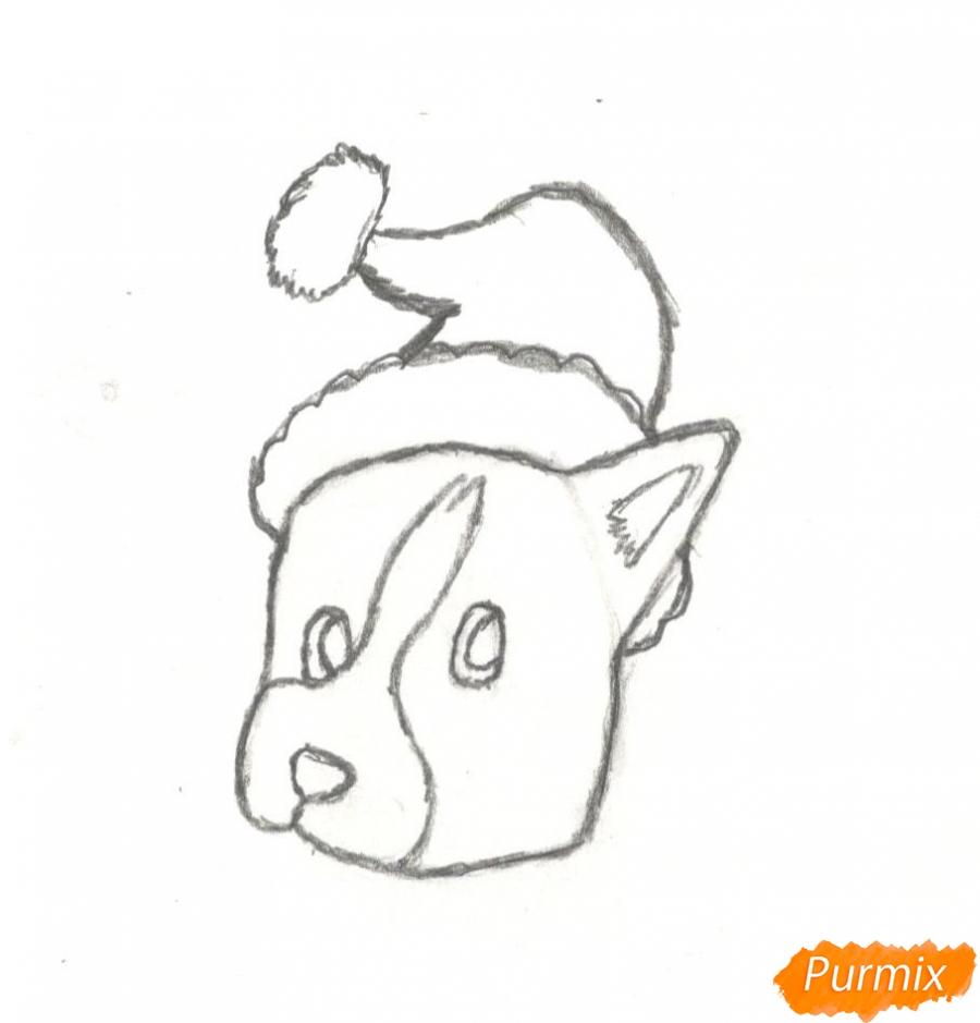 Рисуем щенка на новый год 2018 для начинающих - шаг 5