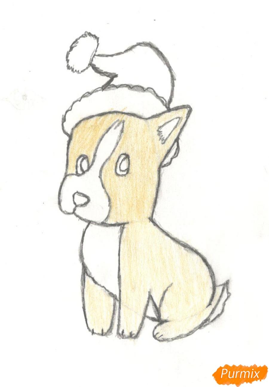 Рисуем щенка на новый год 2018 для начинающих - шаг 8