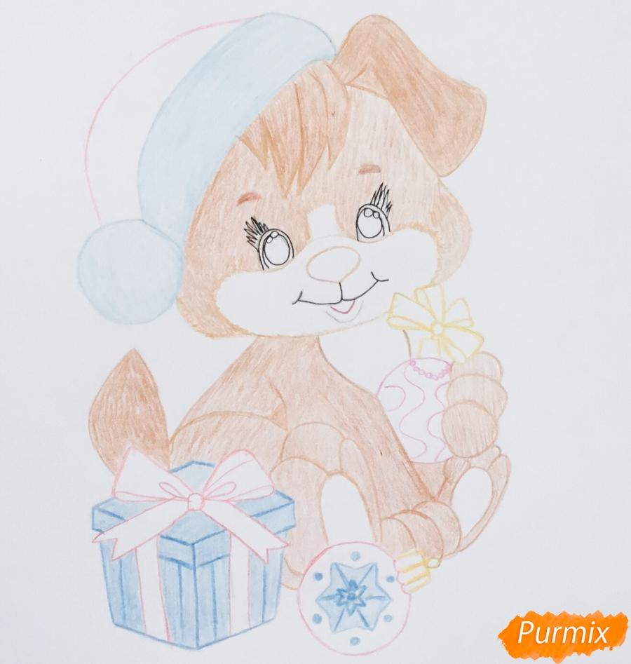 Рисуем щеночка в шапочке и с подарком и новогодними игрушками - шаг 9