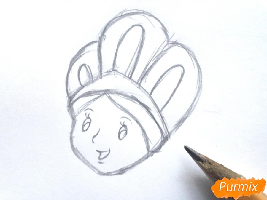 Рисуем Снегурочку легко для детей - шаг 2