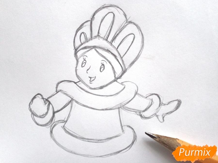 Рисуем Снегурочку легко для детей - шаг 3