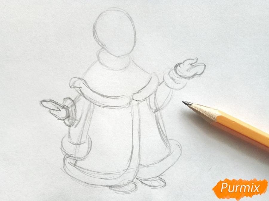 Рисуем Снегурочку с елкой - шаг 2