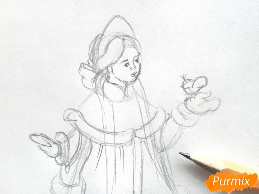 Рисуем Снегурочку с елкой - шаг 3