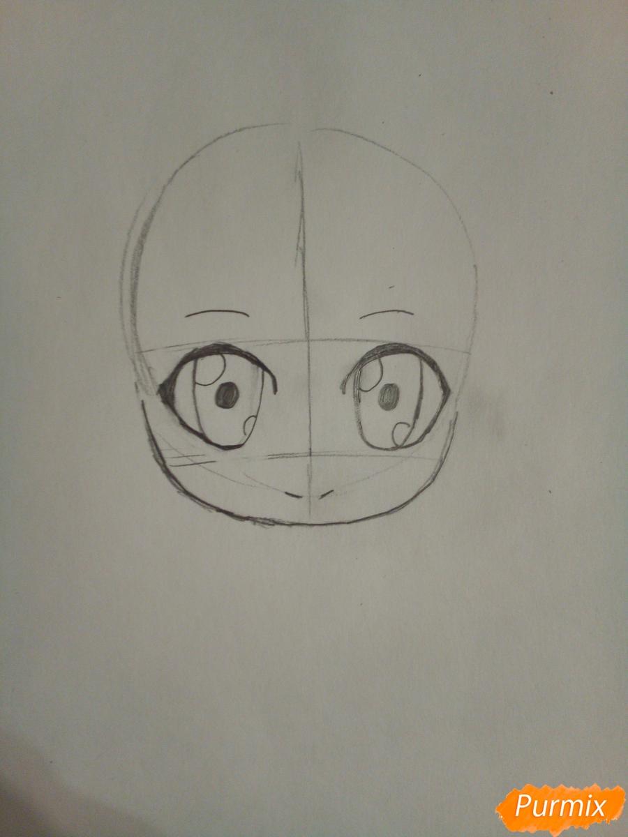 Рисуем снегурочку в стиле чиби - шаг 2