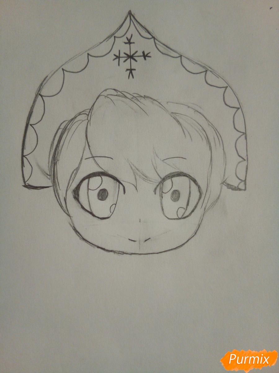 Рисуем снегурочку в стиле чиби - шаг 3