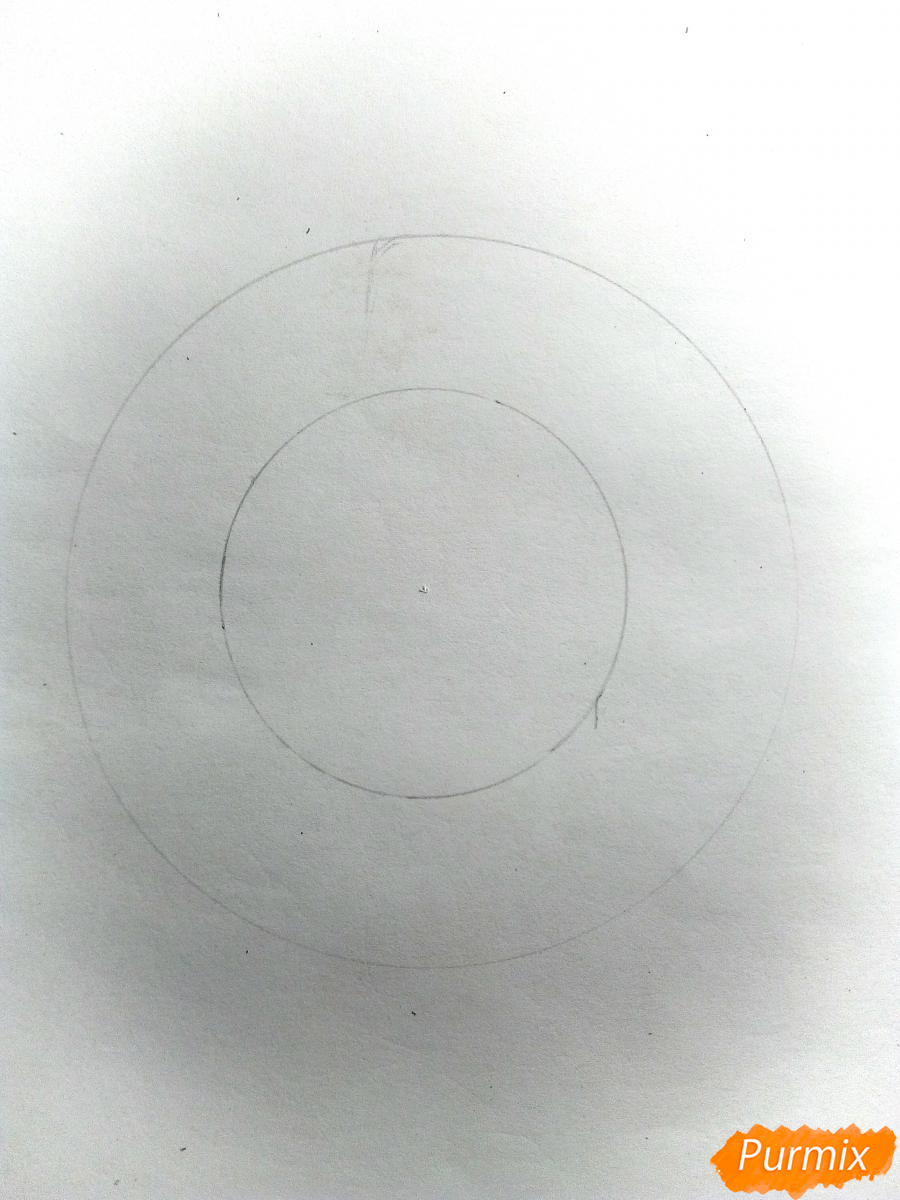 Рисуем снежинку с глазками - шаг 1