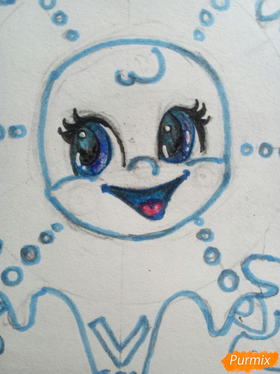 Рисуем снежинку с глазками - шаг 11