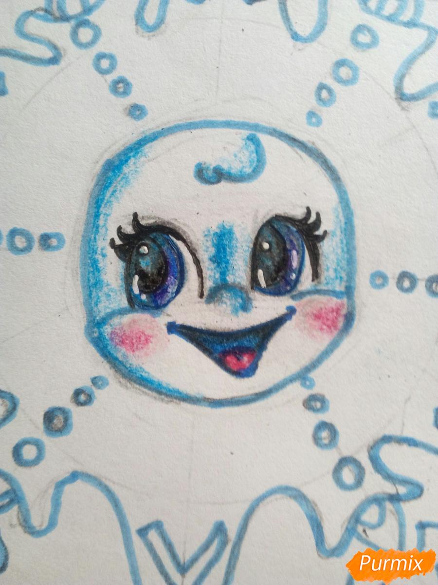 Рисуем снежинку с глазками - шаг 12