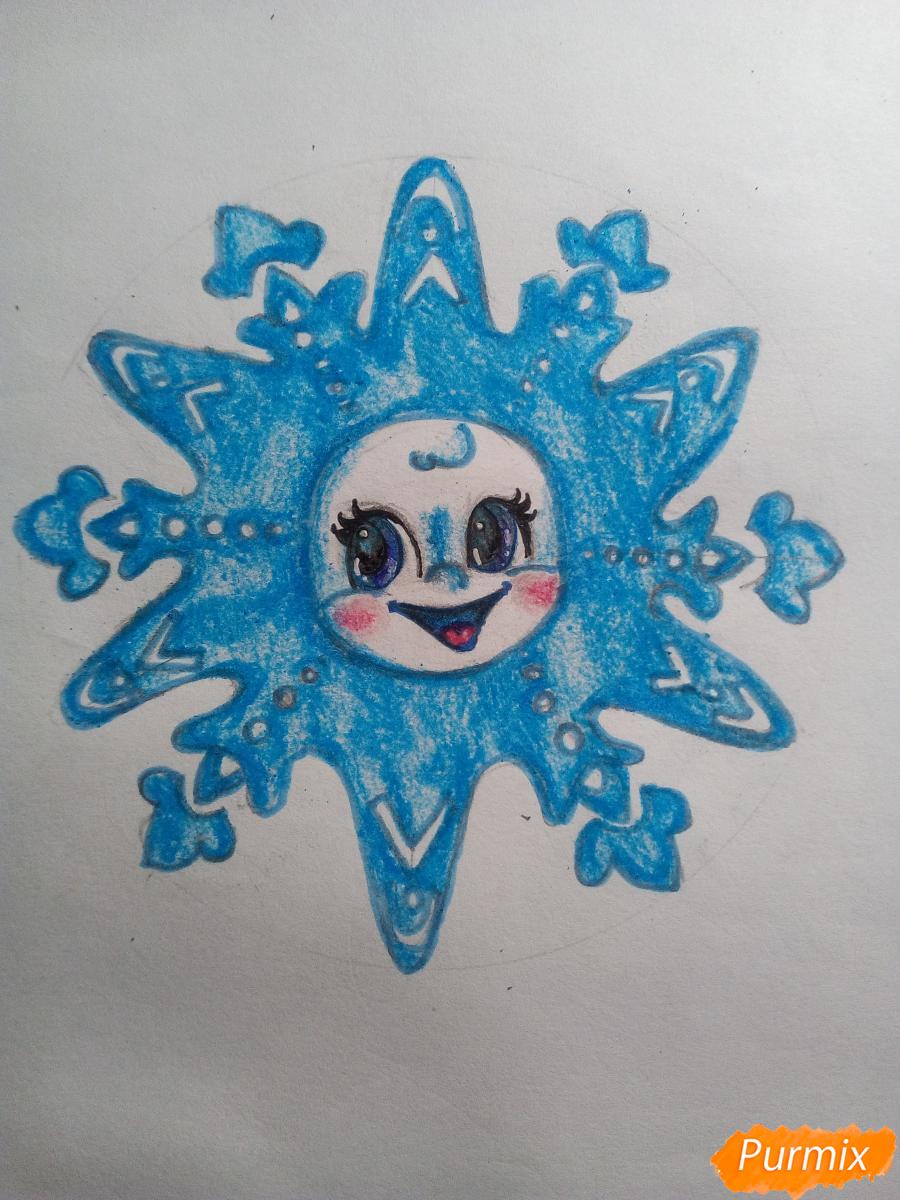 Рисуем снежинку с глазками - шаг 13