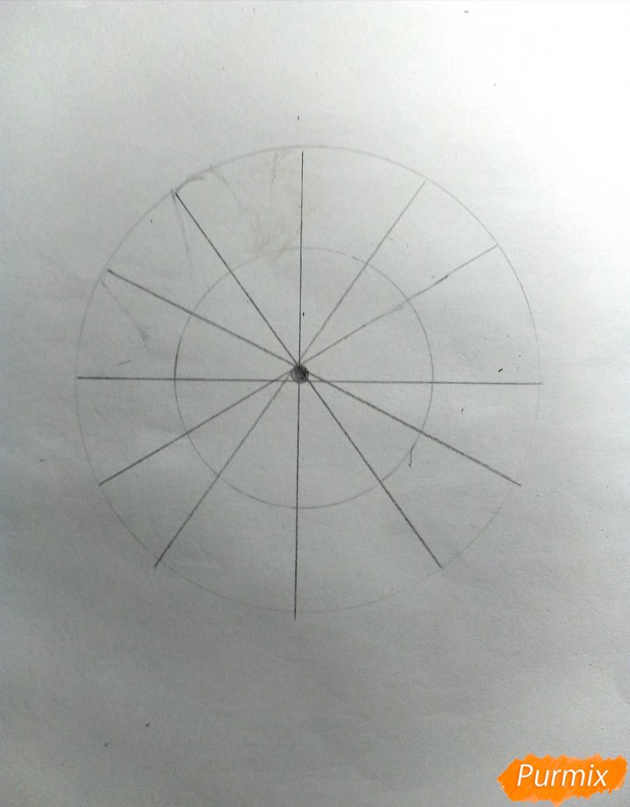 Рисуем снежинку с глазками - шаг 2