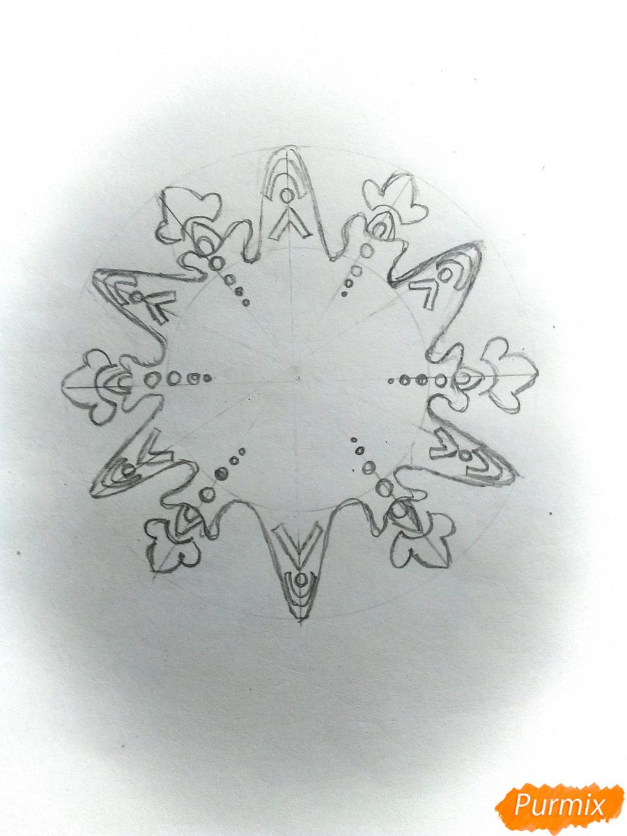 Рисуем снежинку с глазками - шаг 3