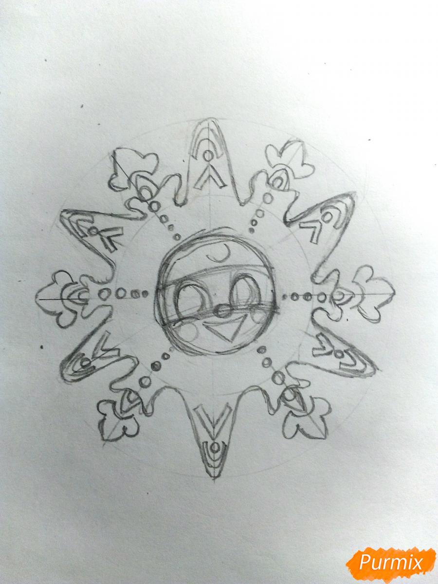 Рисуем снежинку с глазками - шаг 4