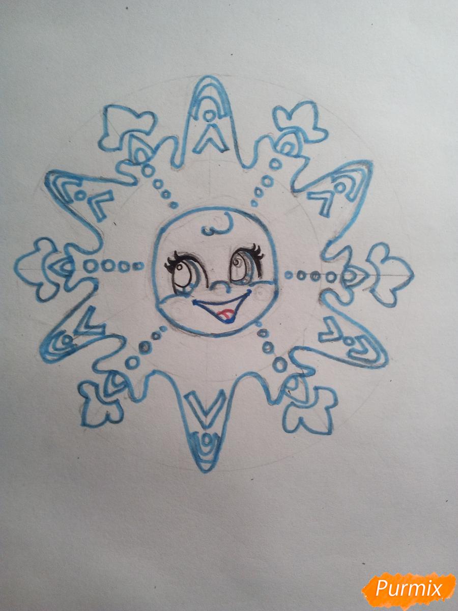 Рисуем снежинку с глазками - шаг 6