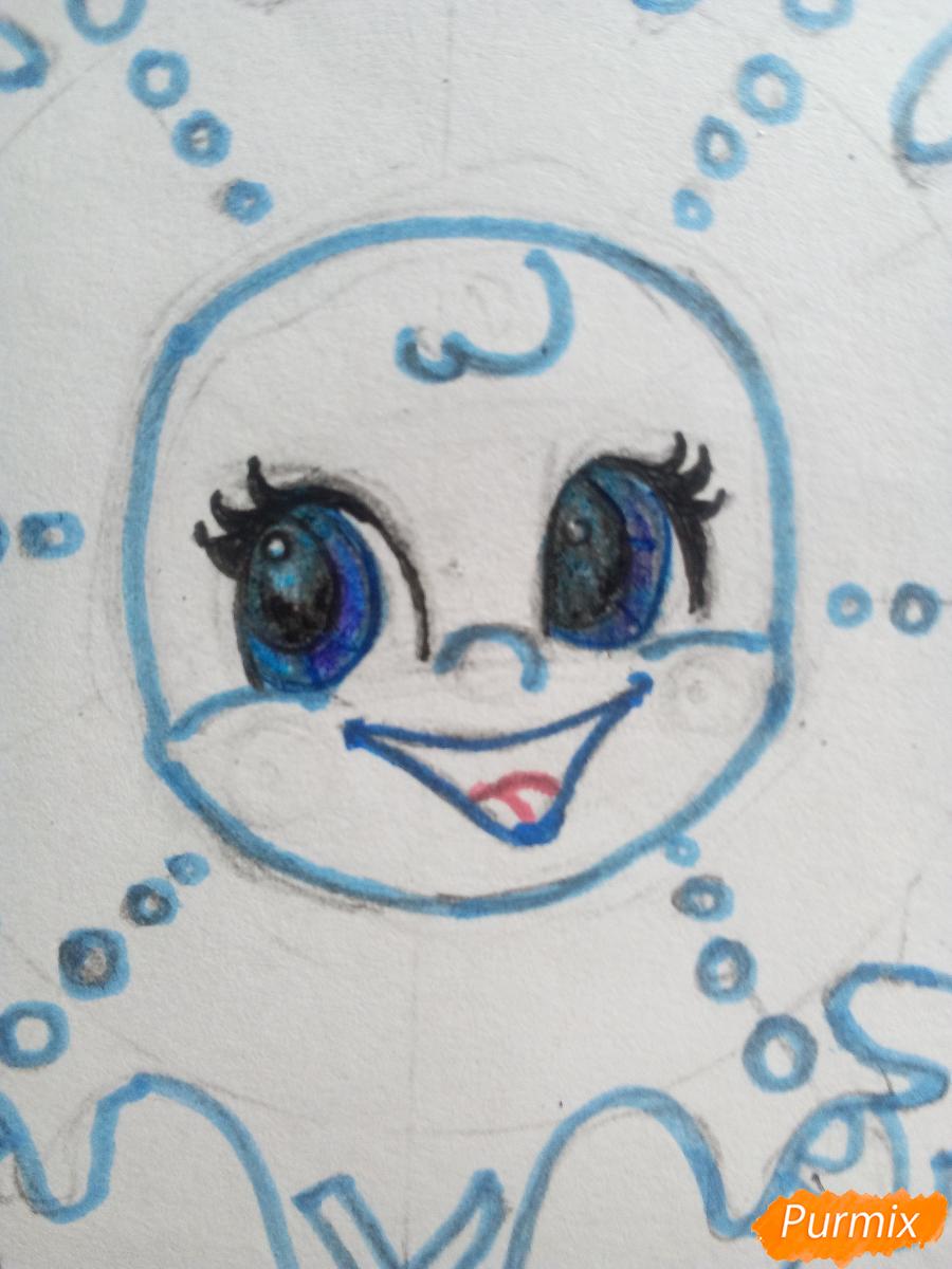 Рисуем снежинку с глазками - шаг 8
