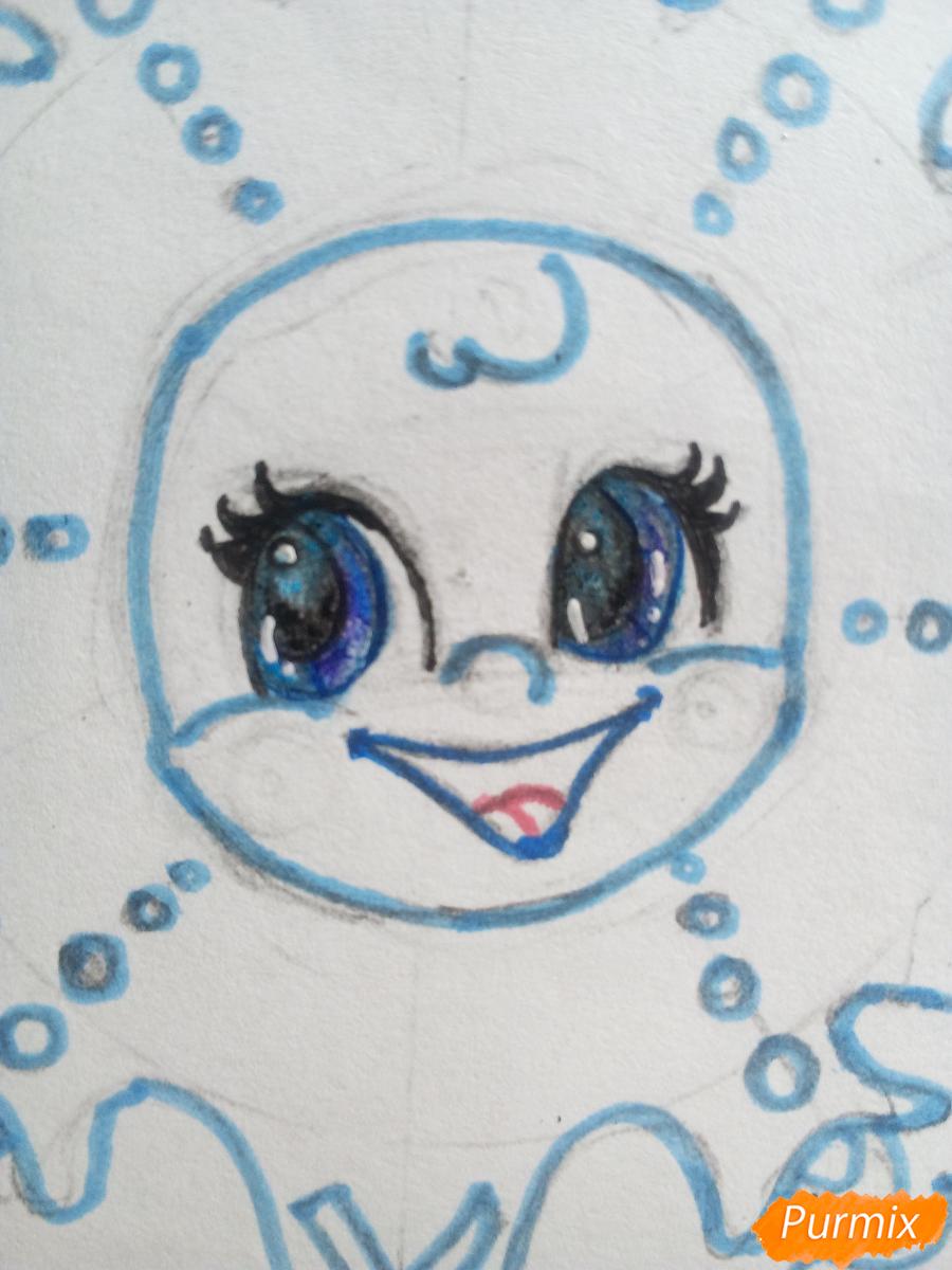 Рисуем снежинку с глазками - шаг 9