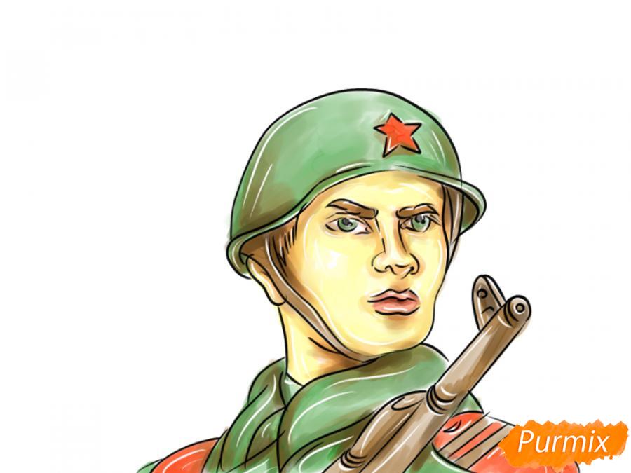 Рисуем солдата на День Победы карандашами - шаг 13