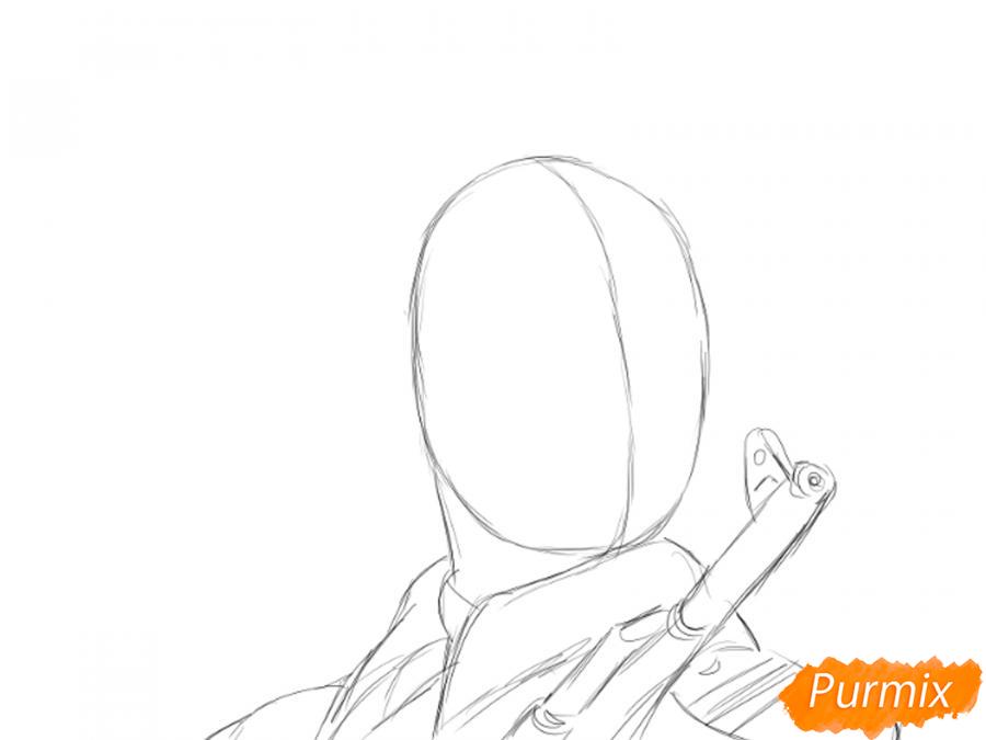 Рисуем солдата на День Победы карандашами - шаг 2