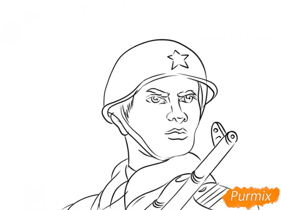 Рисуем солдата на День Победы карандашами - шаг 8