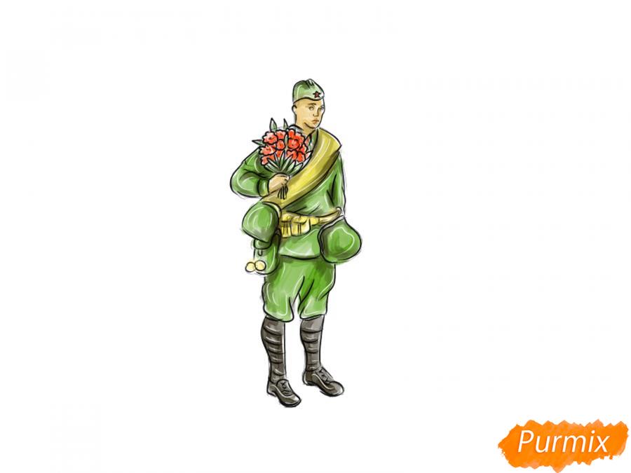 Рисуем солдата с цветами в полный рост к 9 мая - шаг 10