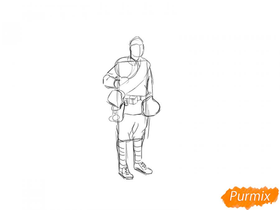 Рисуем солдата с цветами в полный рост к 9 мая - шаг 3