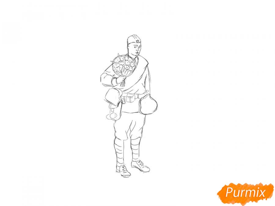 Рисуем солдата с цветами в полный рост к 9 мая - шаг 4
