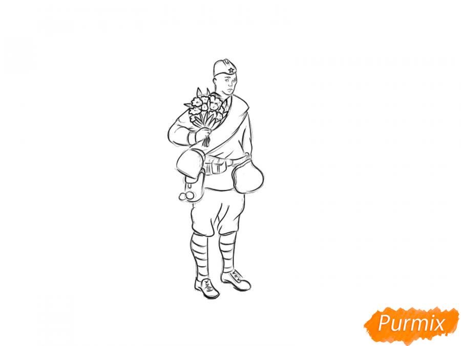 Рисуем солдата с цветами в полный рост к 9 мая - шаг 5