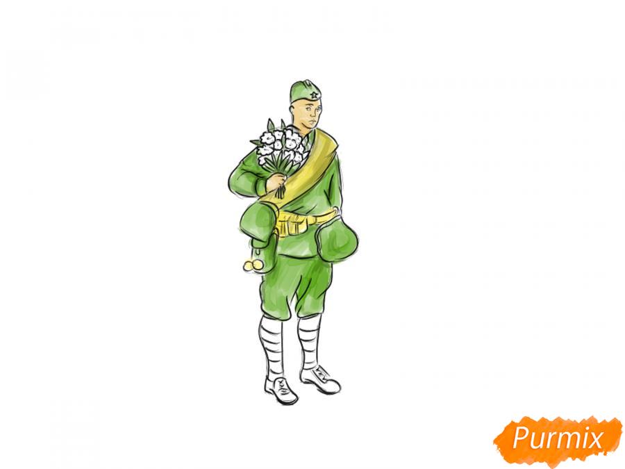 Рисуем солдата с цветами в полный рост к 9 мая - шаг 7